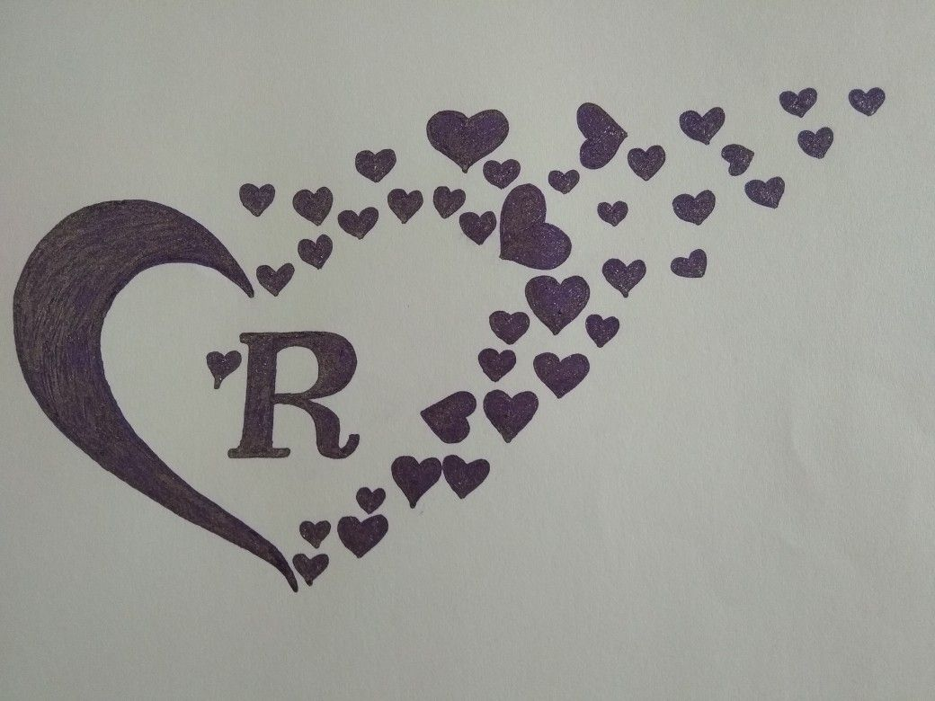 Capital Letter R With Heart Letter R Tattoo Letter R Lettering