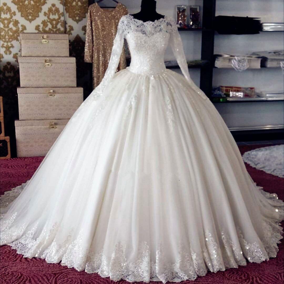 Long lace wedding dress  modest Aline white long sleeves charming wedding dress WD  US