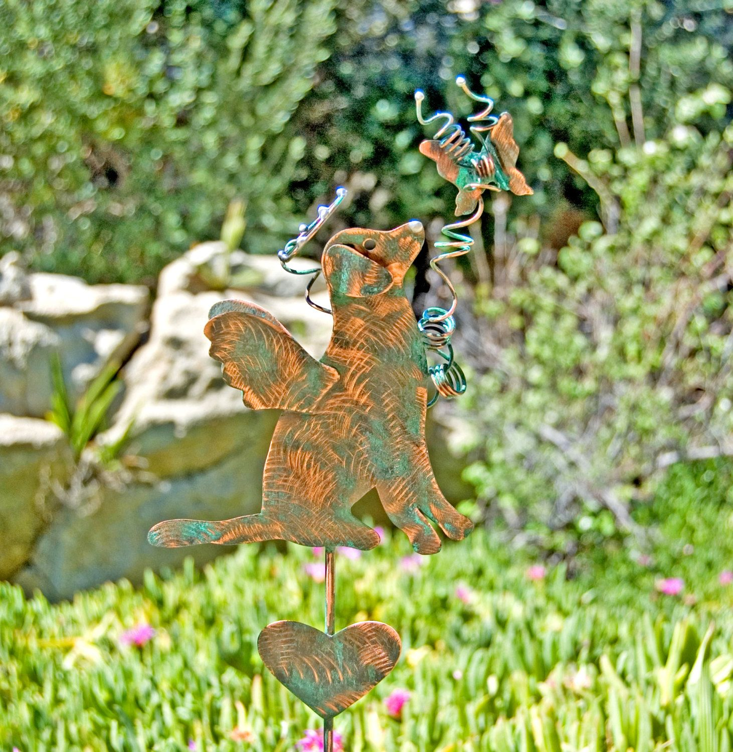 Butterfly lawn ornaments - Dog With Butterfly Garden Art Pet Memorial Stake Metal Copper Grave Marker