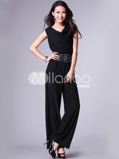 Fashion Black Knitted Fabric V-Neck Sleeveless Ladies Jumpsuit