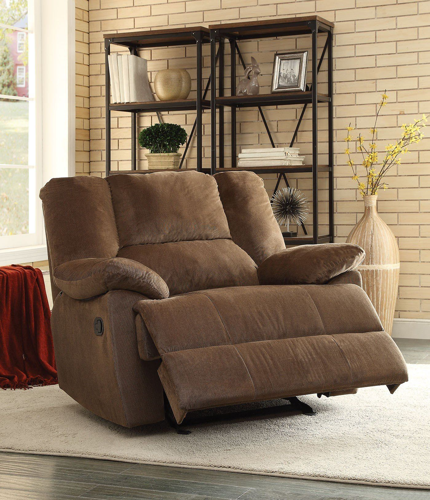 Oliver Chocolate Corduroy Glider Recliner Chair 59415 Features : - Wood &…