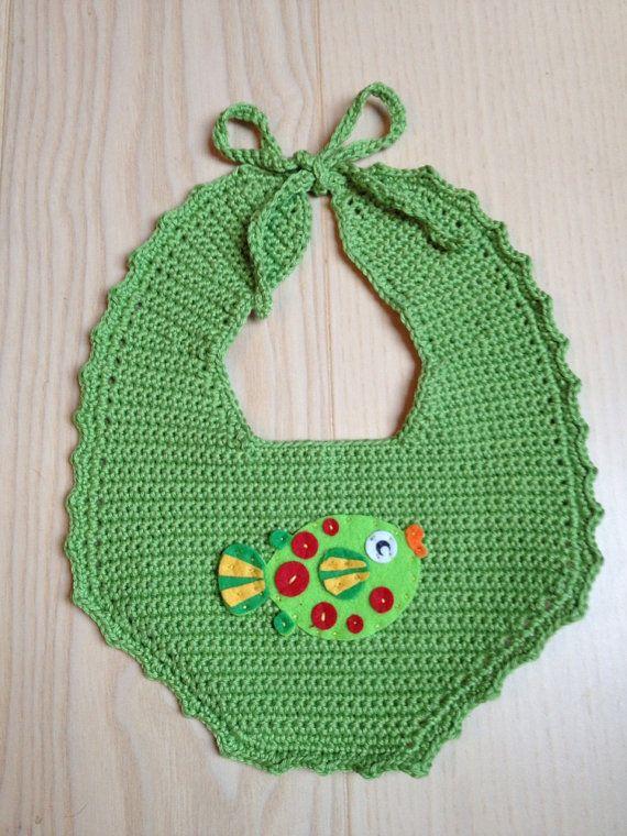 Crocheted Bib Lovely Boy Bib Green With A By Littleyellowfarm