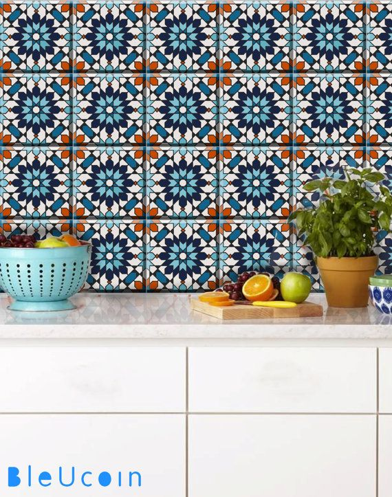 Moroccan Tanjore Tile Wall Floor Stair Riser Vinyl Decal Etsy In 2020 Wall Tiles Stair Riser Vinyl Stick On Tiles