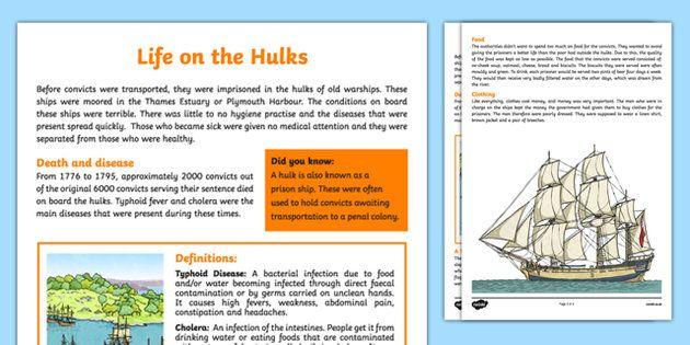 The First Fleet Life on the Hulks Information Sheet