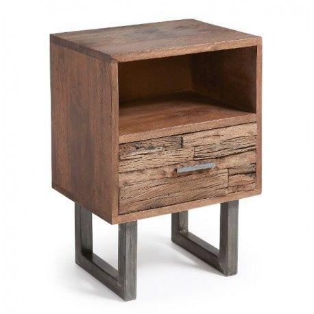 Mesa de noche AMSTERDAM 1 cajón 1 balda madera de mango metal Nordic Style