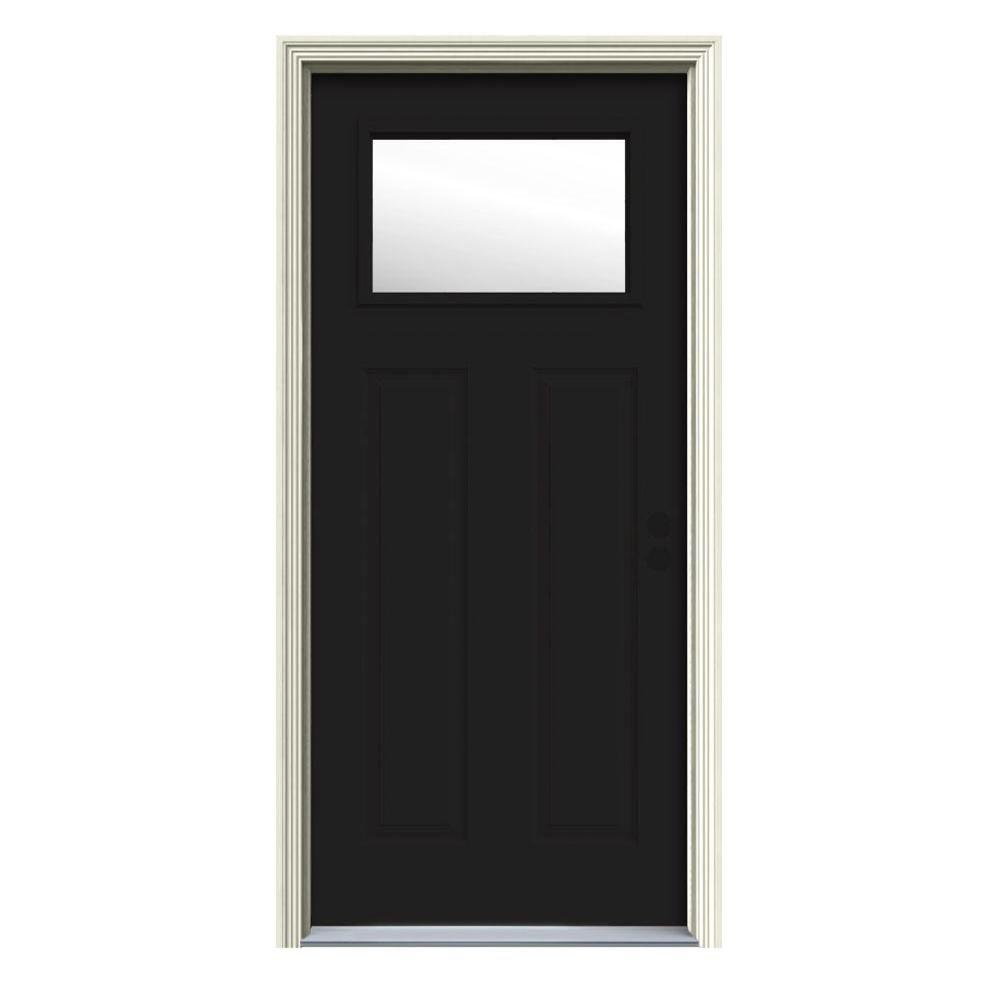 Jeld Wen 32 In X 80 In 1 Lite Craftsman Black Painted Steel Prehung Left Hand Inswing Front Door W Brickmould Thdjw167700941 House Styles Steel Doors Homestead House