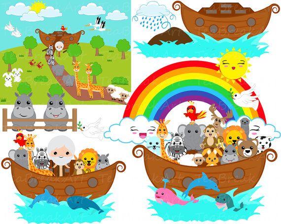 Noah S Ark Whole Set Clipart Digital Graphics For Personal Etsy Digital Clip Art Graphics Noahs Ark Clip Art