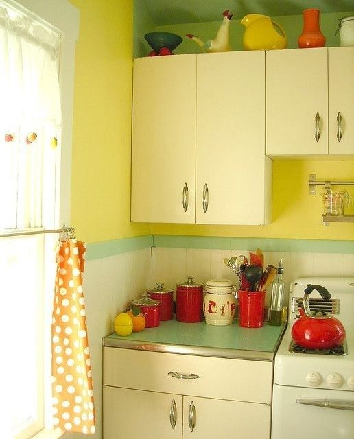Kitchy Kitchen Decor: Vintage Style Kitchen In Pale Yellow, 1950's, Retro, And