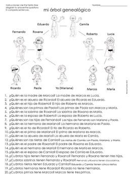 La Familia Spanish Family Tree Questions Worksheet | School days ...