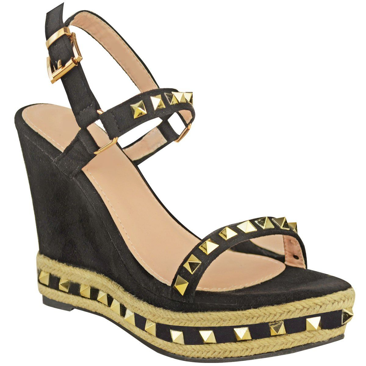 7bddfcabb152 Fashion Thirsty Womens Studded Wedge Sandals Strappy Platforms Denim Summer  Shoes Size     Sincerely hope you actually love the image.