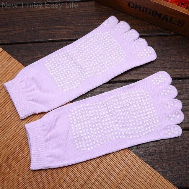 Women Female Gym Sports Exercise Fitness Anti Non Slip Cotton Separated Toes Five Fingers Yoga Pilates Grip Socks Solid Color