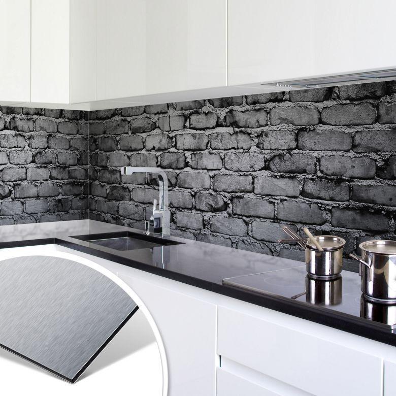Küchenrückwand - Alu-Dibond-Silber - Mauer 04 | Walls