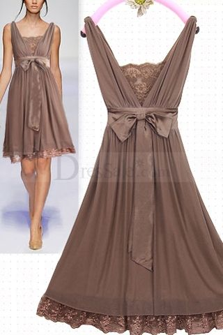 Cheap Light Brown Illusion Short Skirt in Bowtie Sash backless elegant lace prom evening dress $83.50