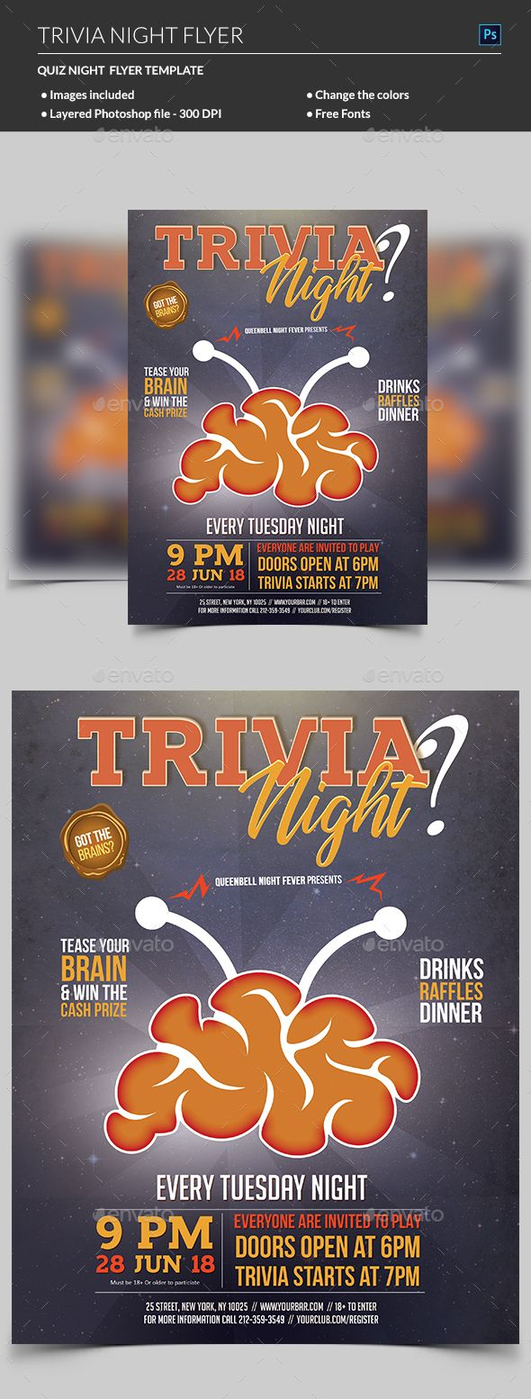 this trivia night flyer and quiz party invitation flyer will promote