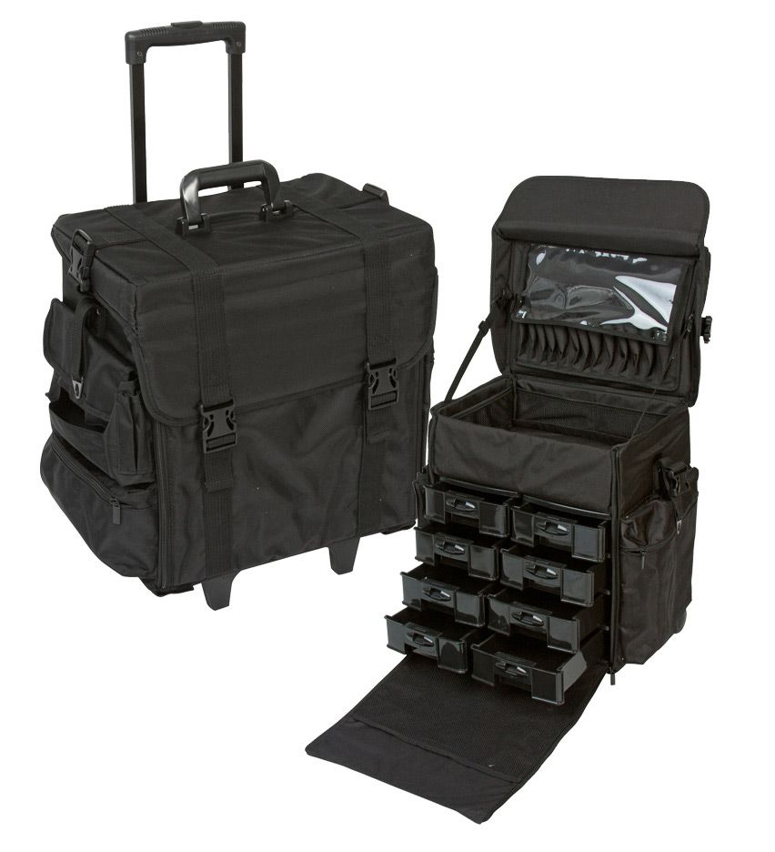 Professional Soft Sided Rolling Makeup Case W Drawers