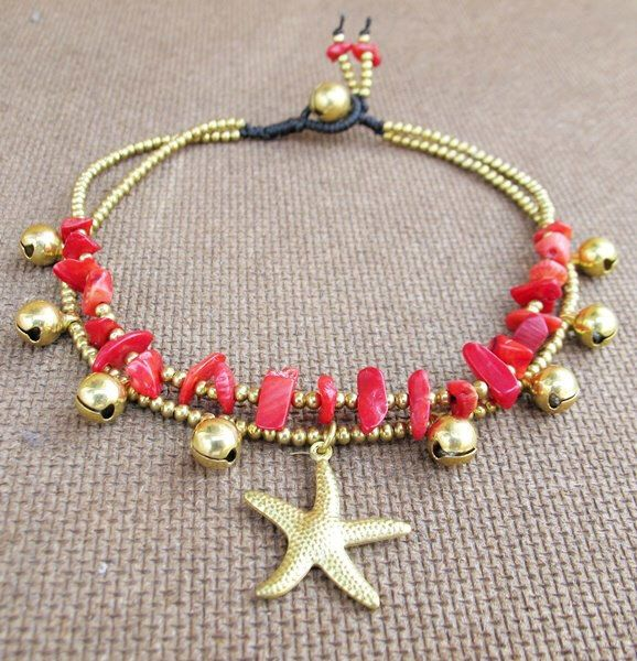 2 Strand Coral Stone Brass Bead Ankle Bracelet added Starfish Charm by Summerwrist on Etsy https://www.etsy.com/listing/129915432/2-strand-coral-stone-brass-bead-ankle