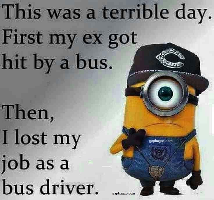 Funny Minion Quote About Ex vs  Bus   For Laughs   Pinterest   Funny     Funny Minion Quote About Ex vs  Bus