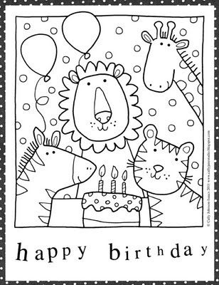 Happy Birthday Card Coloring Page Free Downloadable Printable