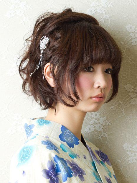 Kanzashi Arrangement Short Hair 着物 髪型 ボブ ショートボブ