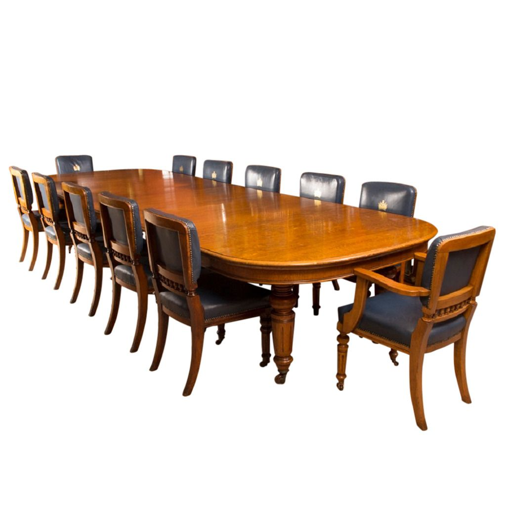 antique victorian oak dining table & 12 chairs c.1870 | from a