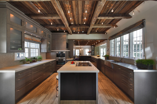 Defining Elements Of The Modern Rustic Home Dark counters Wall