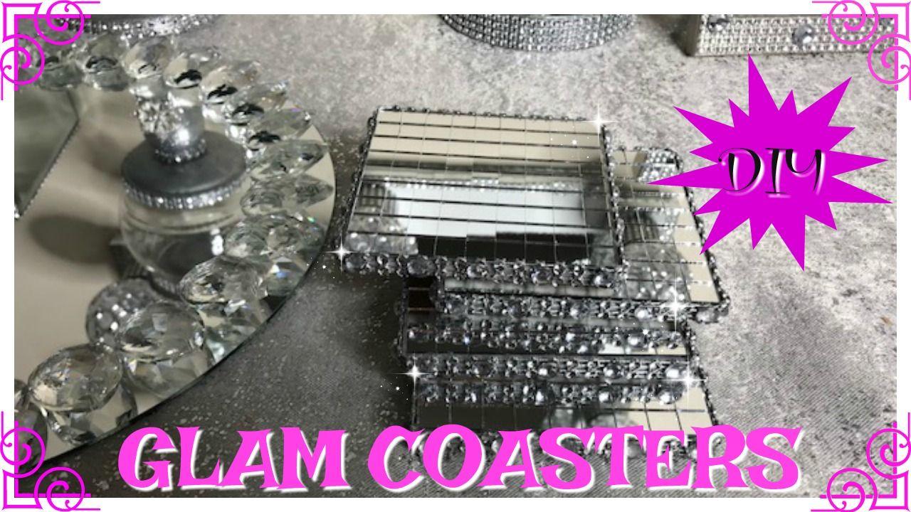 Diy these beautiful glam coasters using dollar tree