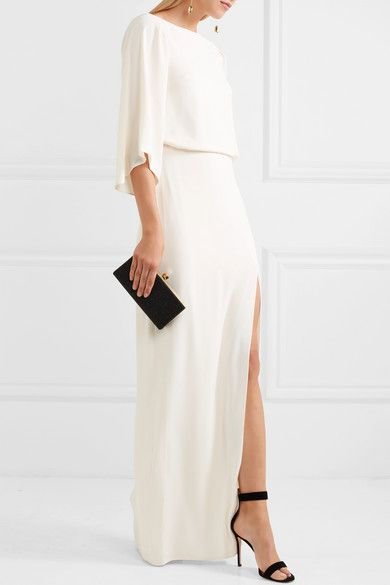 Embroidered Tulle-paneled Crepe Gown - Cream Halston Heritage