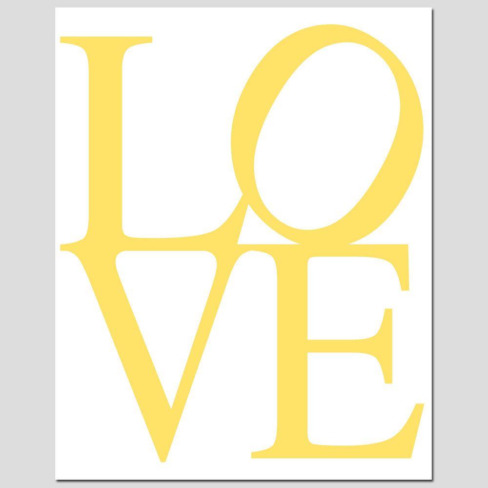 SALE - LOVE - 8 x 10 Art Print in Yellow and White - Modern Nursery Decor. $10.00, via Etsy.
