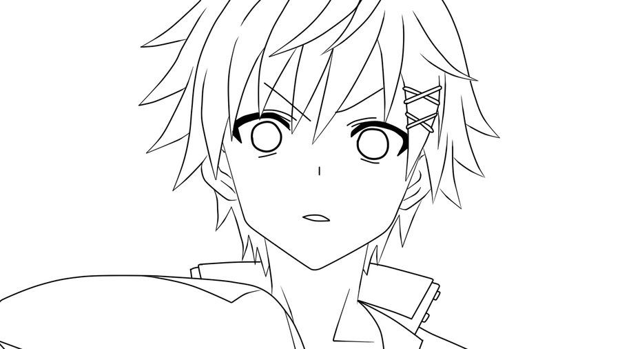 Lineart Anime Boy : Watanuki banri lineart by nightraytsukishiro inu