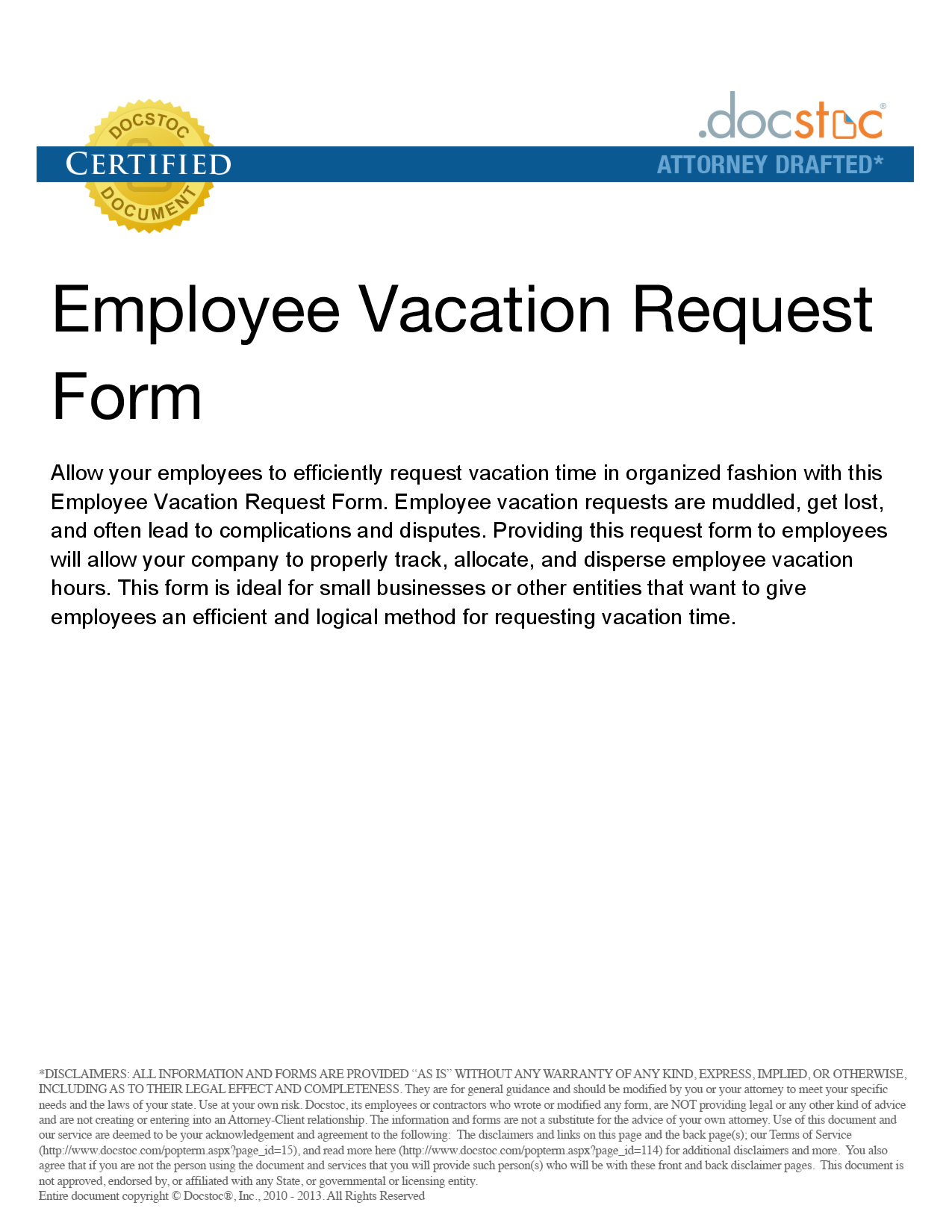 Vacation Time Off Request Form And Leave Letter Sample Requesting