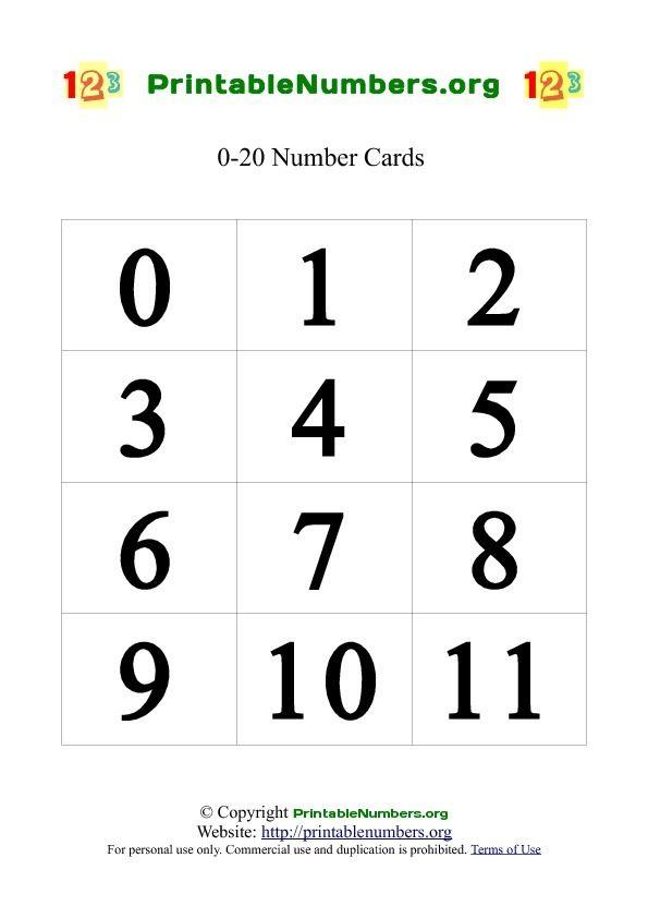 Printable Number Cards 0 20 Printable Numbers Number Cards Cards