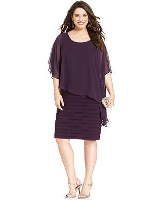 Betsy & Adam Plus Size Chiffon Capelet Sheath - Dresses - Plus Sizes - Macy's