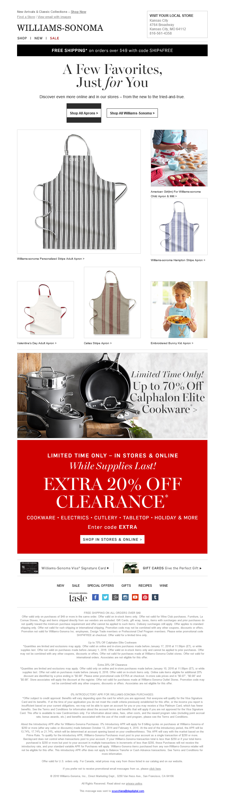 Williams-Sonoma Abandon Browse email | Product placement - not the typical format