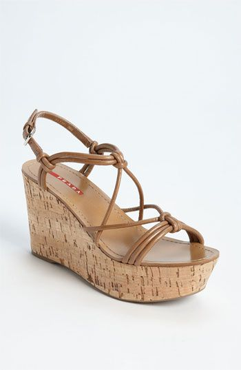 many kinds of sale online clearance clearance Prada Satin Cork Wedges sAYracic