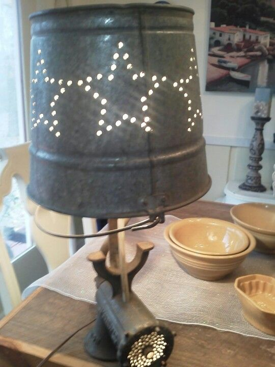 Antique Meat Grinder Lamp All Repurposed Materials Made By