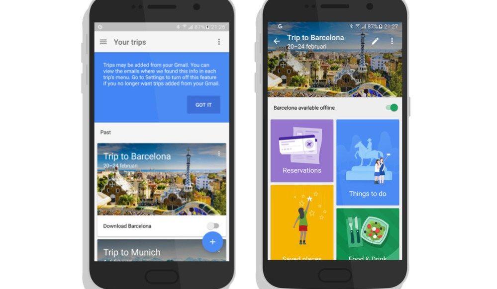 Télécharger l'appalication Google Trips DROID APPLI