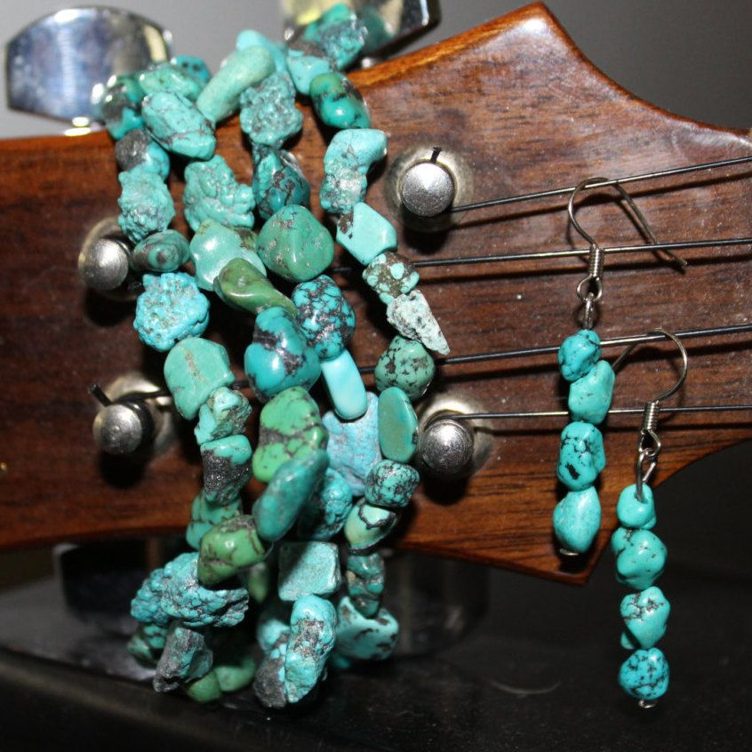Turquoise Drop Earrings By Tiedyespirit On Etsy
