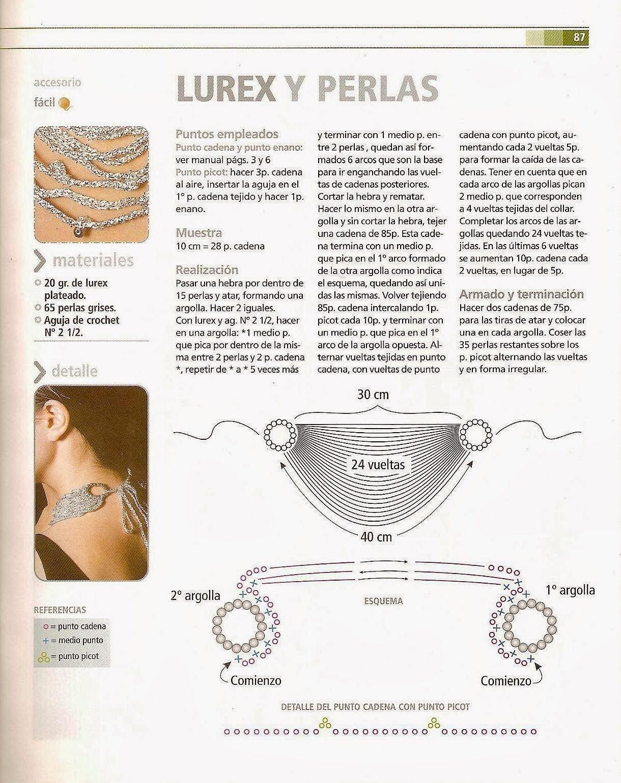 Collar Cadenetas y Perlas Instrucciones - Patrones Crochet ...