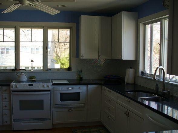 Opalescent Kitchen, white cabinets, black granite ... on Backsplash For Black Granite Countertops And White Cabinets  id=27449