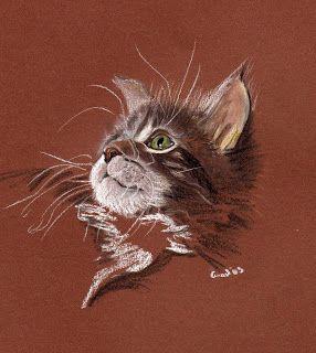Pastell Zeichnung, pastel painting, cat, Katze, animal, art, Kunst, Zeichnung