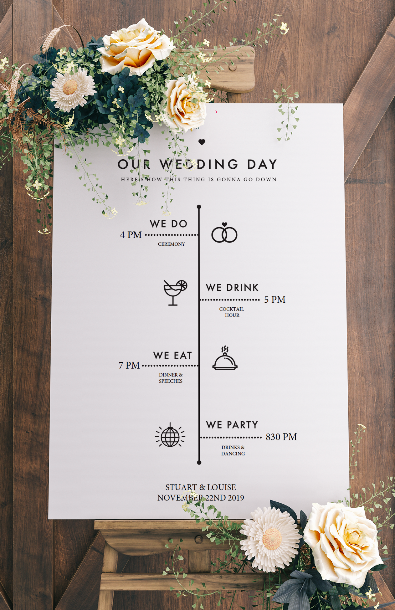 Printable Wedding Sign Template - Wedding Program Sign #diyweddingdecorations