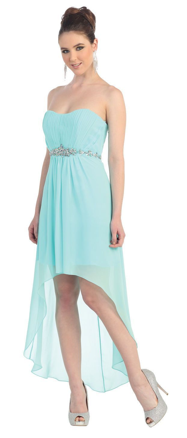 A fun flirty high low dress. With a long floor length back and a ...