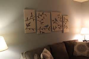 DIY wall art birds branches canvas