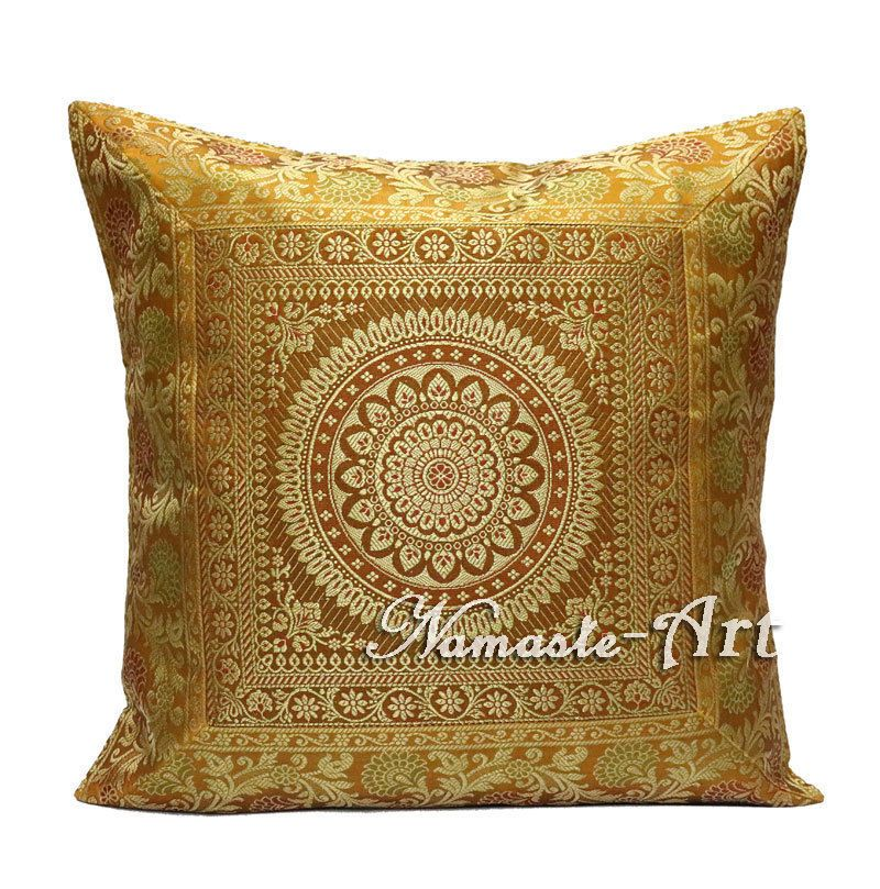 40'' Indian Silk Brocade Home Decor Boho Pillow Throw Decorative Impressive Indian Silk Decorative Pillows