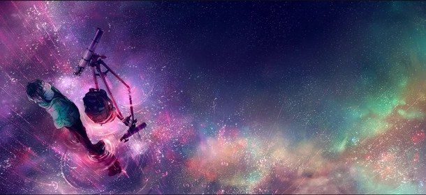 anime, anime couple, anime guy, colorful, cute, galaxy, looking up, manga, manga guy, pink, sad, space, stars, telescope, universe, yellow, mixed colors, into space, lovely universe