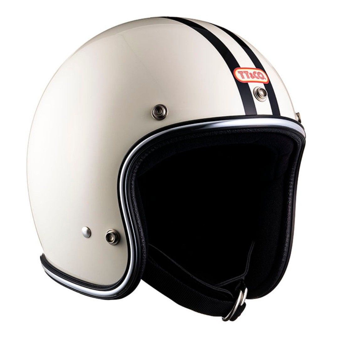 Super Magnum Two Lines Chrome Trim Ivory Traditional Designed Graphic Helmet Chrome Rubber Trim Style It Is An Extremely Thick Type Used For A Vintage He Em 2020