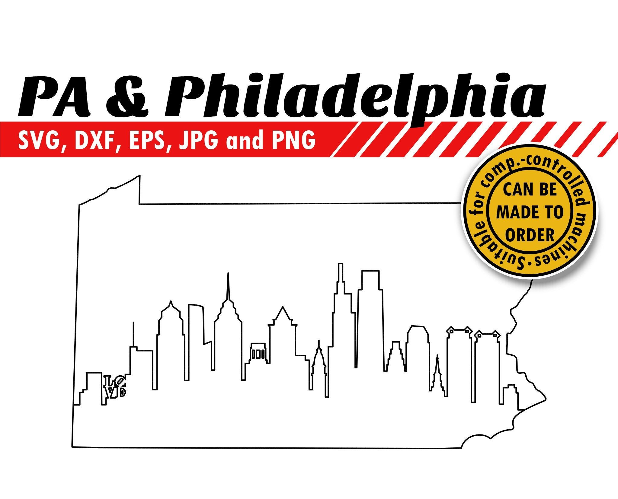 Pennsylvania and philadelphia skyline svg eps dxf jpg