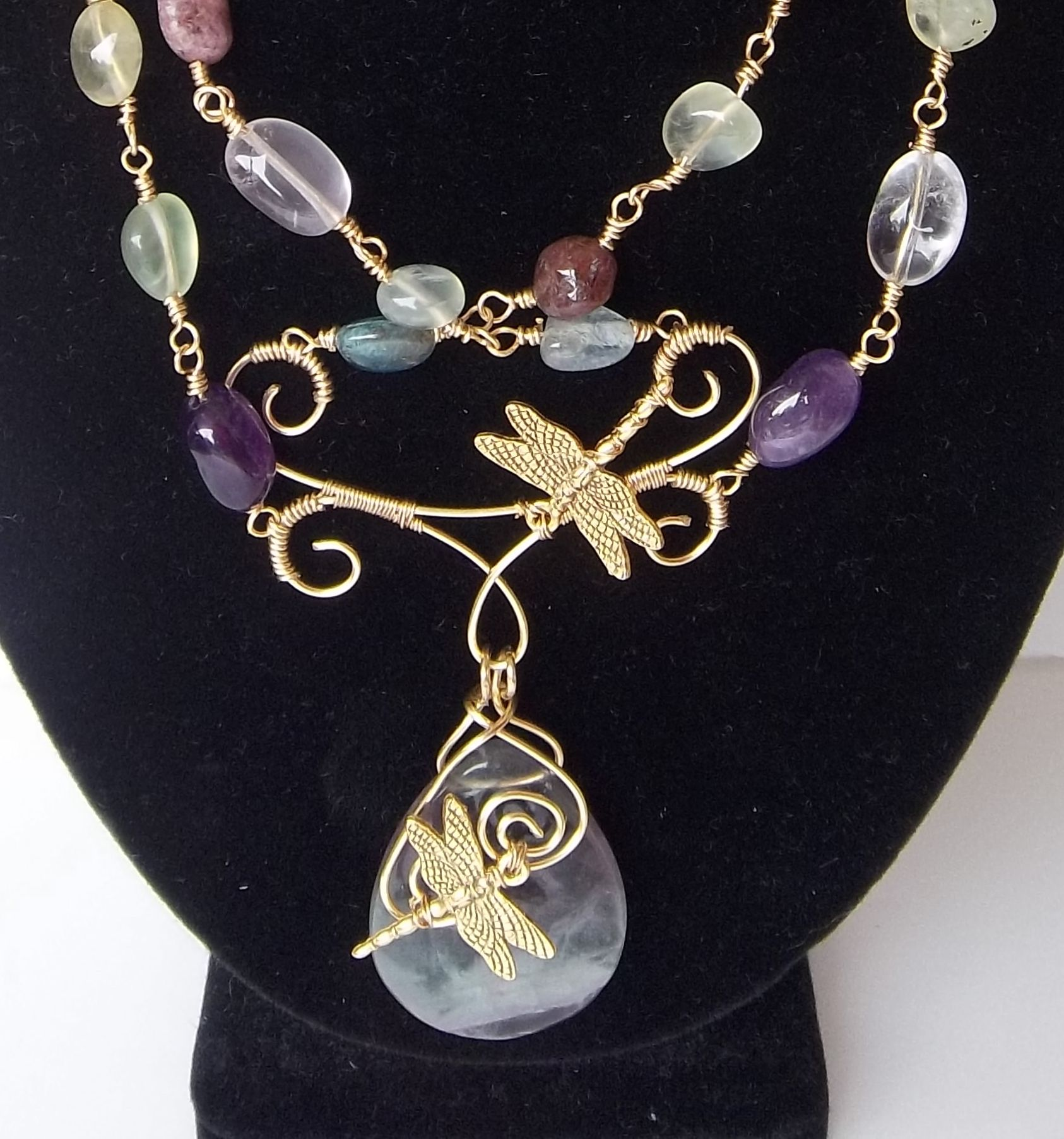 Here be dragonflies...closeup of focal area of the necklace