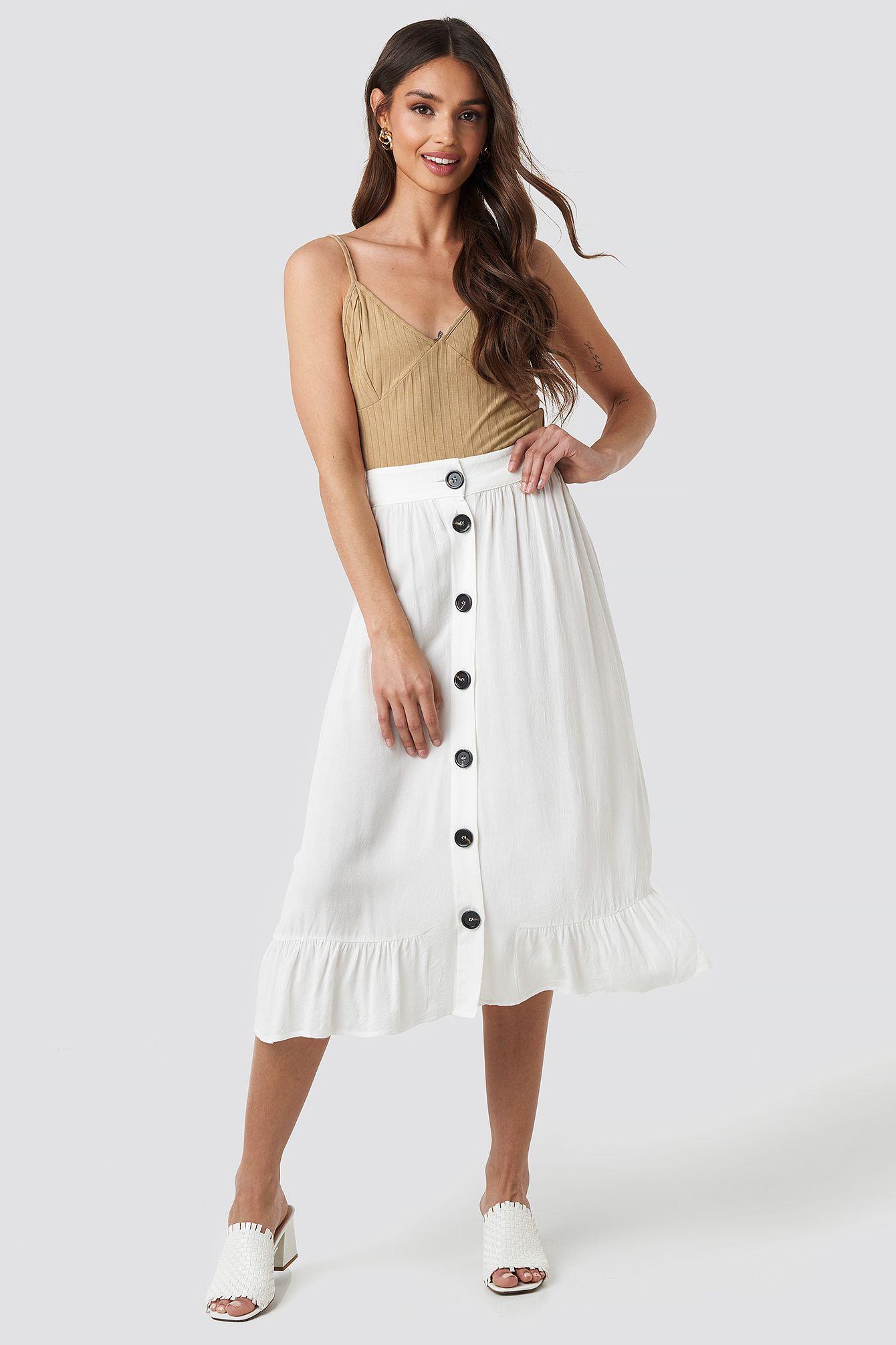 Frill Hem Front Button Skirt Weiß