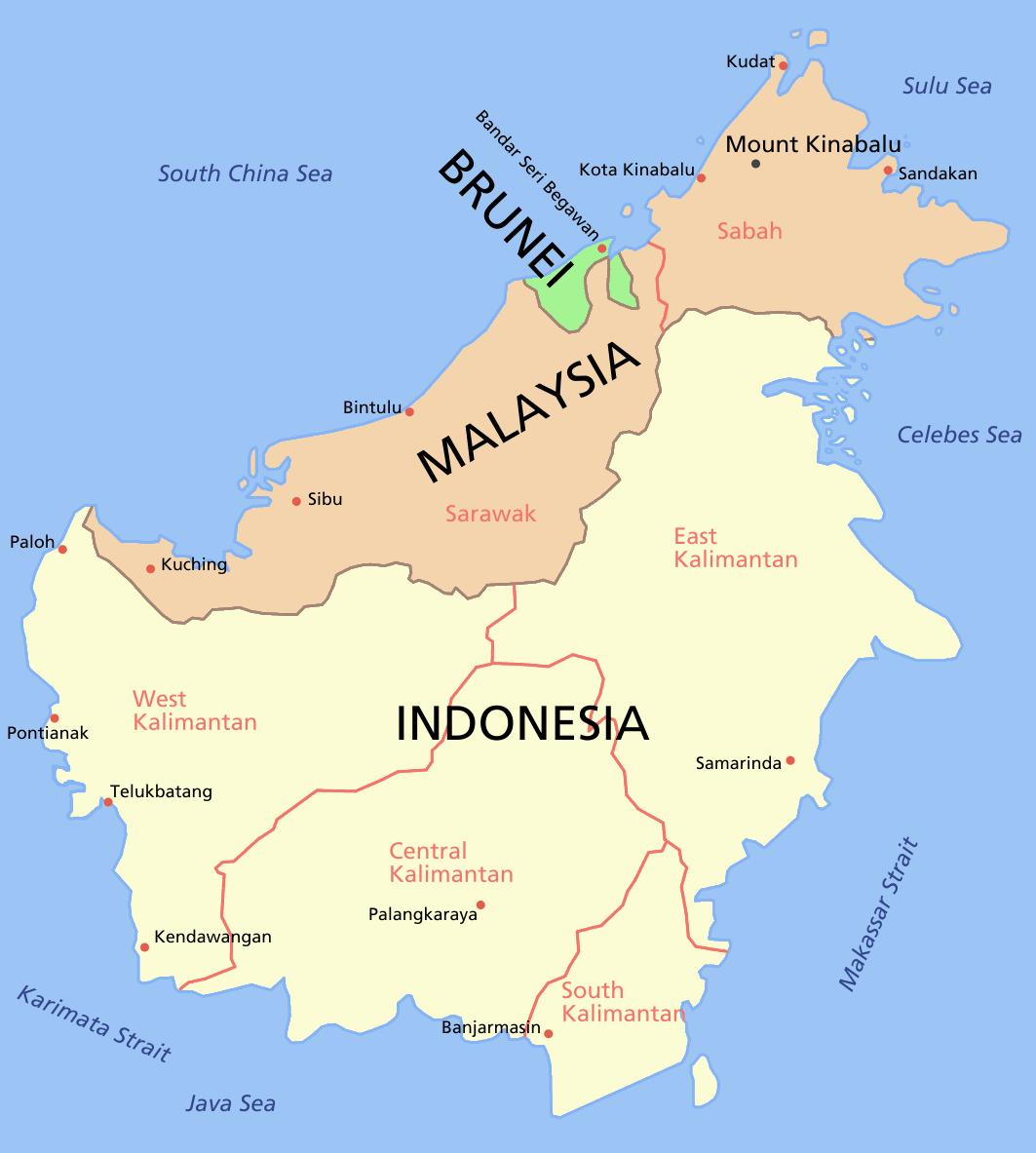 Bornéo : carte géographique Sabah Sarawak Kalimantan | Girl Scouts